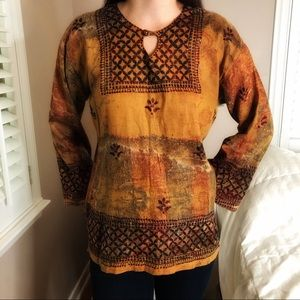 3 LEFT S-L Fall Thanksgiving Boho Chic Beaded Embroidered Tunic Top